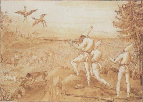Punchinellos_hunting_waterfowl_1800